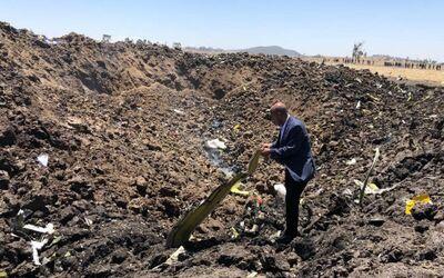 Absturzstelle der Boeing 737 MAX 8 von Ethiopian Airlines am 10. März 2019.