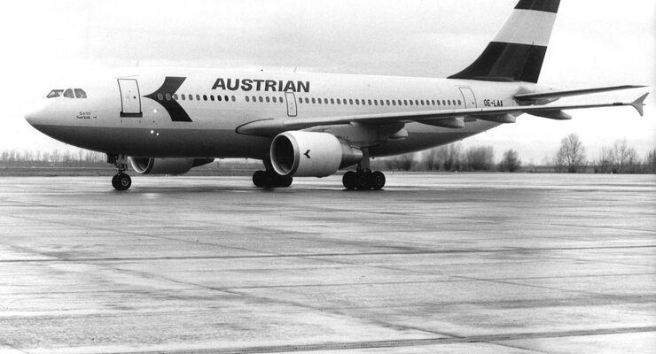 Airbus A310 von Austrian Airlines in den 1980er Jahren.